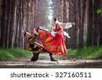 man and woman in russian... | Shutterstock . vector #327160511