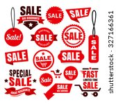red discount sale tags  badges... | Shutterstock .eps vector #327166361