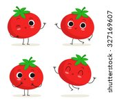 tomato. cute vegetable vector... | Shutterstock .eps vector #327169607