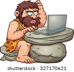 Cartoon Caveman Using A Laptop...
