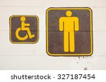 man and invalid people toilet... | Shutterstock . vector #327187454