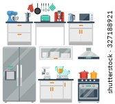 flat vector kitchen with... | Shutterstock .eps vector #327188921