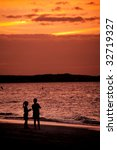 silhouettes at the beach | Shutterstock . vector #32719327