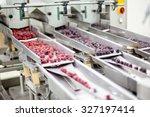 frozen red raspberries in... | Shutterstock . vector #327197414