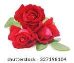 Stock photo red roses isolated on a white background 327198104