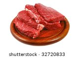 Heap Of Raw Steak On Wooden...