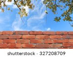 Brick Wall And Sky Background...
