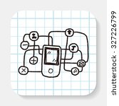 mobile medea link doodle | Shutterstock . vector #327226799
