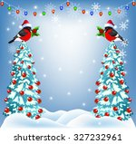 christmas forest and... | Shutterstock . vector #327232961