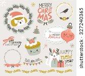 set of christmas design elements | Shutterstock .eps vector #327240365
