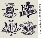 halloween sign calligraphy set. ... | Shutterstock .eps vector #327243329