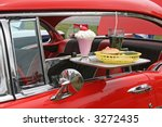 Small photo of car hop food and antique car