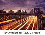 night car traffic on brooklyn... | Shutterstock . vector #327247895