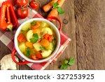 vegetable soup with ingredients ... | Shutterstock . vector #327253925