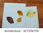 autumn leaves lie on watercolor ... | Shutterstock . vector #327256754