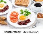delicious breakfast for... | Shutterstock . vector #327260864