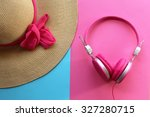 pretty straw hat and pink...   Shutterstock . vector #327280715