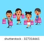 cartoon women and shopping bags   Shutterstock .eps vector #327316661