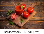 Glass Of Fresh Tomato Juice An...