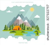 summer. morning landscape in... | Shutterstock .eps vector #327322757