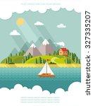 summer landscape. little... | Shutterstock .eps vector #327335207