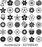 flower icon collection   vector ... | Shutterstock .eps vector #327338144