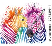 Rainbow Zebra. Watercolor...