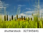 beautiful view of green fields... | Shutterstock . vector #327345641