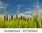 beautiful view of green fields... | Shutterstock . vector #327345641