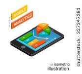 3d smartphone with graphs in... | Shutterstock .eps vector #327347381