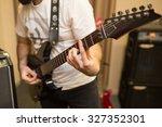 musician rehearsing on a black... | Shutterstock . vector #327352301
