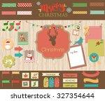 christmas scrapbook set | Shutterstock .eps vector #327354644