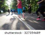 people group jogging  runners... | Shutterstock . vector #327354689
