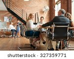 exciting boardroom meeting with ...   Shutterstock . vector #327359771