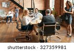 exciting boardroom meeting with ... | Shutterstock . vector #327359981