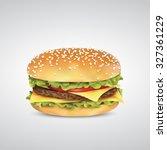 vector of burger in sesame bun...   Shutterstock .eps vector #327361229