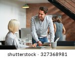 business manager discussing... | Shutterstock . vector #327368981