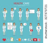 set of doctor character at... | Shutterstock .eps vector #327373721
