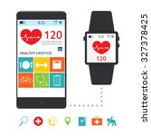 smart watch with application... | Shutterstock .eps vector #327378425