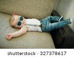 cute little boy in sunglasses... | Shutterstock . vector #327378617