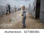 syrian refugees families who... | Shutterstock . vector #327380381