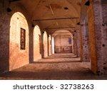 Historical medicean castle arcade, Melegnano, Milan, Italy - stock photo