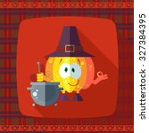 flat vector card with chef... | Shutterstock .eps vector #327384395