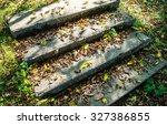 stone stairway with fallen... | Shutterstock . vector #327386855