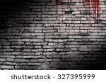 bloody wall  in the dark for... | Shutterstock . vector #327395999