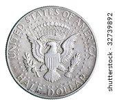 State Emblem of USA on the half dollar coin - stock photo
