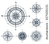 set of isolated compass roses... | Shutterstock . vector #327420131