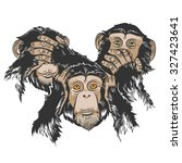 vector color three monkey... | Shutterstock .eps vector #327423641