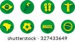 brazil flat icon set. vector...   Shutterstock .eps vector #327433649