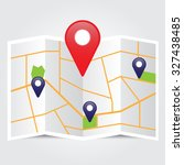 map with pin pointer icon... | Shutterstock .eps vector #327438485